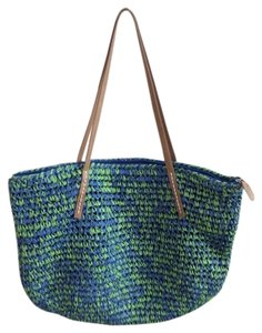 Saks Fifth Avenue 5th Ave Straw Paper Straw Straw Beach Satchel in Turquoise and lime green