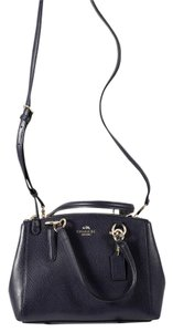 Coach Pebbled Leather Navy Zip Pockets Internal Pockets Satchel in Midnight