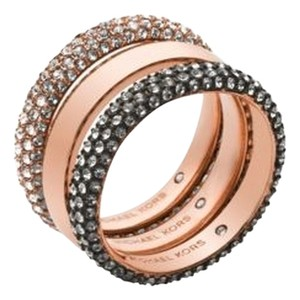 Michael Kors Nwt Michael Kors Rose Gold Tone Pave Stackable Rings Set Size 6
