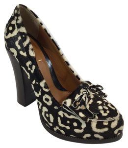 Fendi Animal Print Moccasins Pony Hair Black and White Platforms
