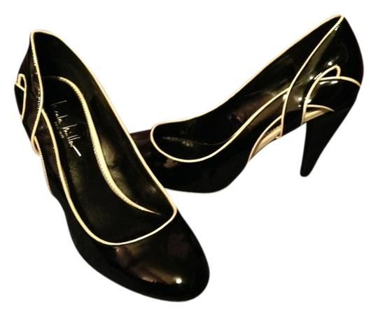 Nicole Miller NY Heels Comfortable Patent Leather Design Black Pumps
