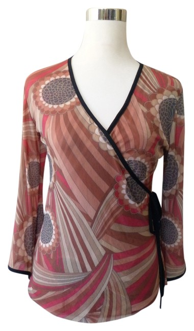 Sweet Pea by Stacy Frati 3/4 Bell Cuff Faux Wrap Abstract Fall Autumn Top Brown