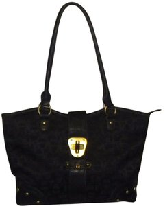 Etienne Aigner Monogram Studded Canvas Tote in Black