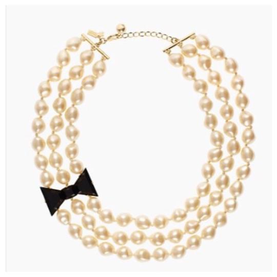 Kate Spade Black Tie Optional Triple Strand Necklace