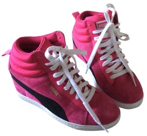 PUMA Sky Wedge LC Heels Sneaker Lace Up Hip Fashion High Tops Shoes Pink with black ans white Athletic