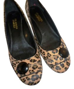 Franco Sarto Leopard . Wedge Heel Peep Toe cheetah print Calf fur Pumps