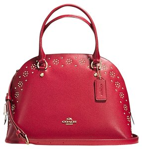 Coach Gold Stud Studded Flower Stud Satchel in Red