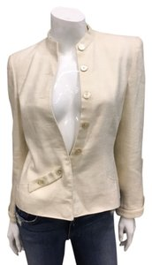 Valentino Silk Linen Button Detail Cream Blazer