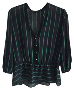 New York & Company Top Navy with green stripe