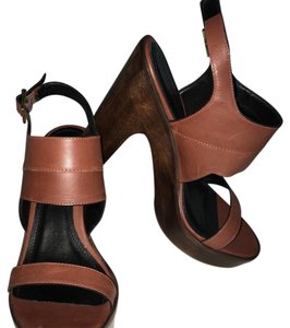 Pour La Victoire Chunky Clog Heel Wooden Heels Chunky Heels Brown Sandals