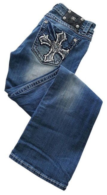 Item - with White and Silver Embellishments Medium Wash Boot Cut Jeans Size 31 (6, M)