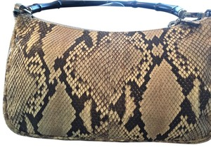 Gucci Python Bamboo Snakeskin Handbag Handbag Brown Beige Like New Shoulder Bag