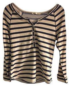 Old Navy T Shirt Tan with navy stripe