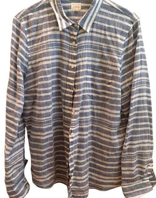 J crew blue and white stripe gauze boy shirt button down for Gauze button down shirt