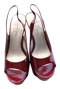 Jessica Simpson Pumps High Heels Patent Leather Heels Red Platforms