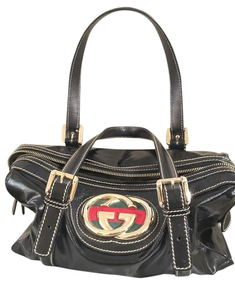 396752da1dc4 Gucci Boston Britt Dialux Patent Black Coated Canvas Shoulder Bag ...