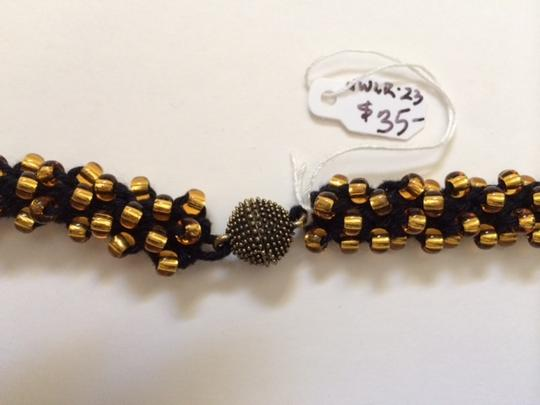 Other Gold Glass Beads On Black with Magnetic Clasp