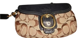 Coach Signature Wristlet in Brown and Navy