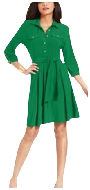 Preload https://item1.tradesy.com/images/ny-collection-green-a-line-shirtdress-mid-length-workoffice-dress-size-petite-14-l-1246475-0-5.jpg?width=400&height=650