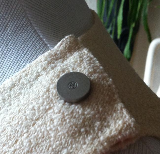 Chanel Boucle Cc Buttons Brushed Silver Top Cream