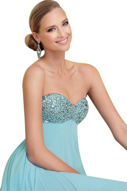Alyce Designs Prom Blue Strapless Dress