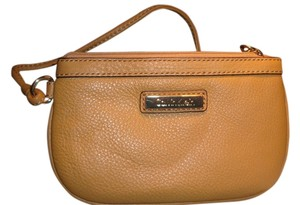 Calvin Klein Leather Wristlet in Brown