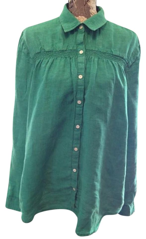 b4f96cab82b Lands' End Kelly Green Gathered-front Linen Button-down Top Size 16 ...