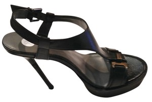 Calvin Klein Stiletto Platform T Strap BLACK Sandals
