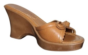 Apostrophe Open Toe Brown Wedges