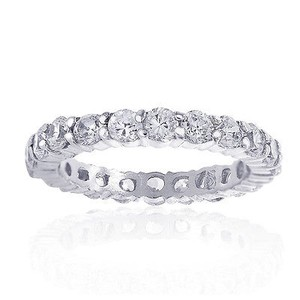 Avital & Co Jewelry Carat Look Round Cut Fine Quality Cubic Zirconia Silver Eternity Band