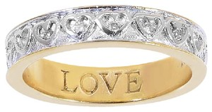 Avital & Co Jewelry Love Karat Yellow Gold Plated Sterling Silver Ring With Real Diamonds