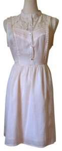 Just Ginger short dress ivory white Spring Short Sweet Button Up Skater on Tradesy