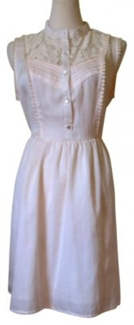 Item - Ivory White Spring Sweet Button Up Skater Above Knee Short Casual Dress Size 10 (M)