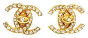 Chanel Chanel 24K Gold Plated Rhinestone Gold Turnlock CC Earrings
