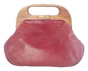 Etienne Aigner Leather Wood Vintage 1980s 1970s Prepster Preppy Prep Collectible Satchel in Burgundy