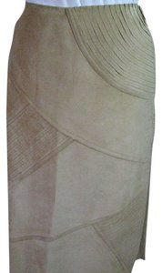 Lafayette 148 New York Suede Leather Skirt Tan Suede