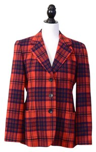 DKNY Tartan Wool Designer Red and Dark Blue plaid Blazer