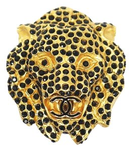 Chanel Chanel Lion Head Rhinestones CC Logo Brooch Pin