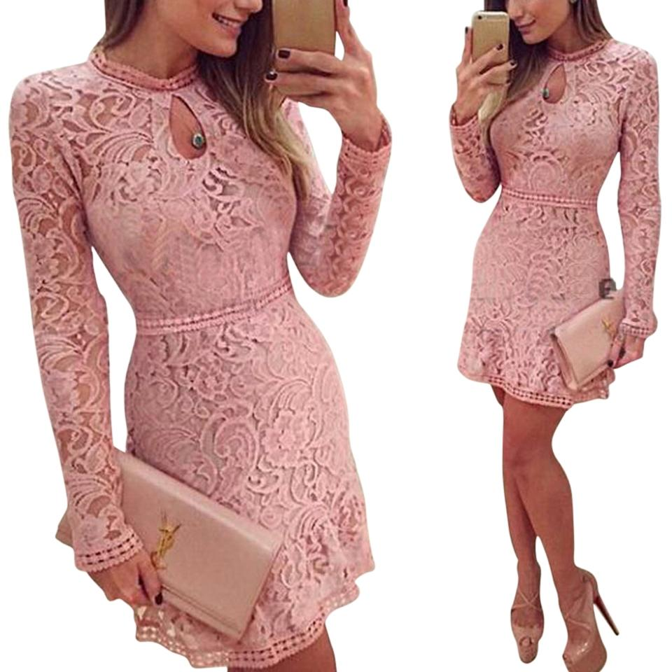 H&M Pink Crochet Style Mid-length Short Casual Dress Size 4 (S ...