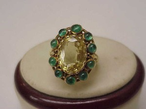 Unique Vctorian 18k Yellow Gold Genuine Huge Citrine Emerald Ring 1820-60's