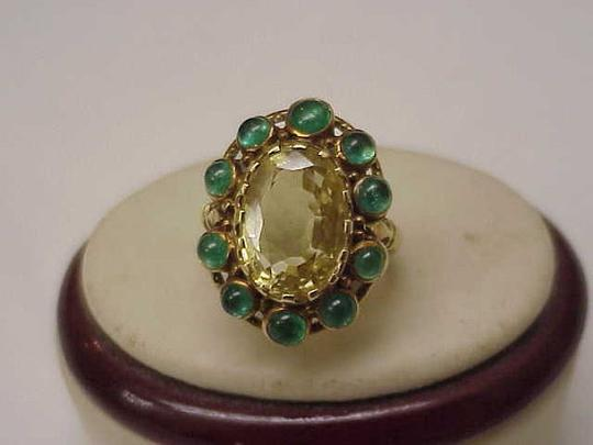 Preload https://img-static.tradesy.com/item/12467995/unique-vctorian-18k-yellow-gold-genuine-huge-citrine-emerald-1820-60-s-ring-0-0-540-540.jpg