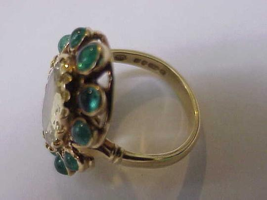 Unique Vctorian 18k Yellow Gold Genuine Huge Citrine Emerald 1820-60's Ring