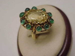 Unique Vctorian 18k Yellow Gold Genuine Huge Citrine Emerald 1820 Ring