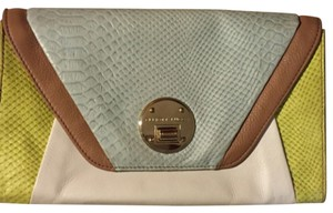Elliott Lucca Green Pastel Blue Pastel White and Tan Clutch