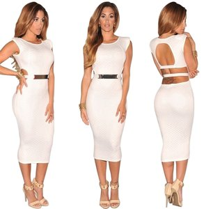 321d6425275b Hot Miami Styles White New Bodycon Spring Summer Sexy Face Sheath Full  Length Casual Party Formal Dress