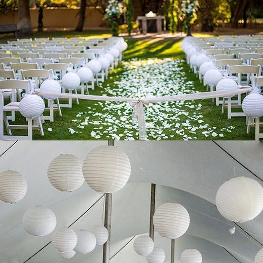 "White - 20 Pieces Mix Sizes 6"" 8"" 10"" 12"" Chinese Round Sky Paper Lanterns Lamp Birthday Party Ceremony Decorations"