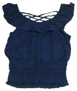 Only Mine Strappy Sleeveless Crop Top Navy Blue