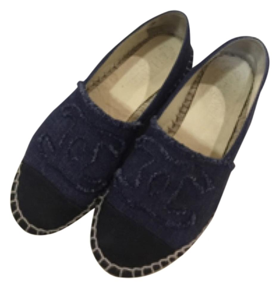 795aa647638 Chanel Denim Jeans Black Eu 36 Espadrilles Canvas Navy Cap Flats Size US 6  Regular (M, B)
