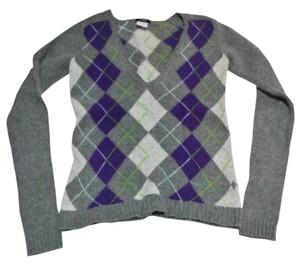 J.Crew Argyle Diamond Fall Career Cashmere Wool V-neck Striped Soft Warm Angora Fur Sweater