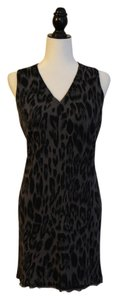 Neiman Marcus short dress Black and gray Cashmere Blend Leopard Print Designer on Tradesy
